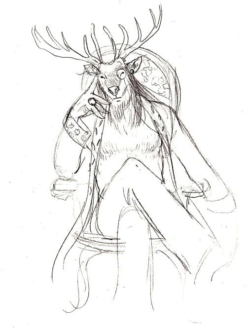 Esquisse d'étude du personnage du cerf par Delphine Harrer (doc remis)