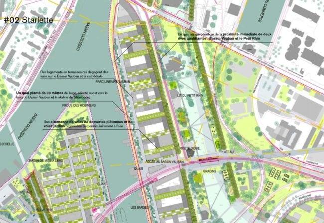L'ancien lit du Petit Rhin sera reconverti en un large parc traversant du nord au sud (agence TER / doc remis)