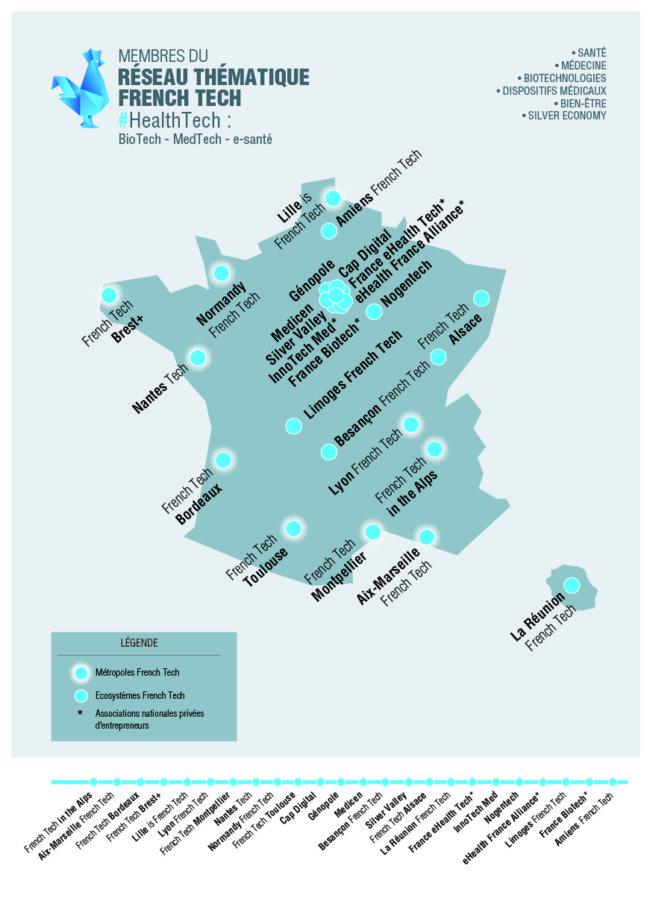 """Les nouveaux territoires """"MedTech"""", aux côtés de l'Alsace. (document French Tech)"""