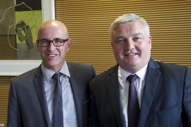 Frédéric Bierry et Eric Straumann, les deux présidents des départements alsaciens n'entendent pas laisser à la Région tout le développement économique (Photo Dep Haut-Rhin)