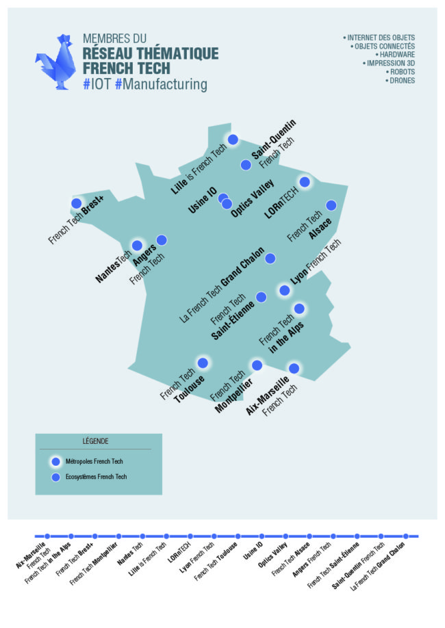 """Les territoires du réseau thématique """"Industries du futur"""" (document French Tech)"""
