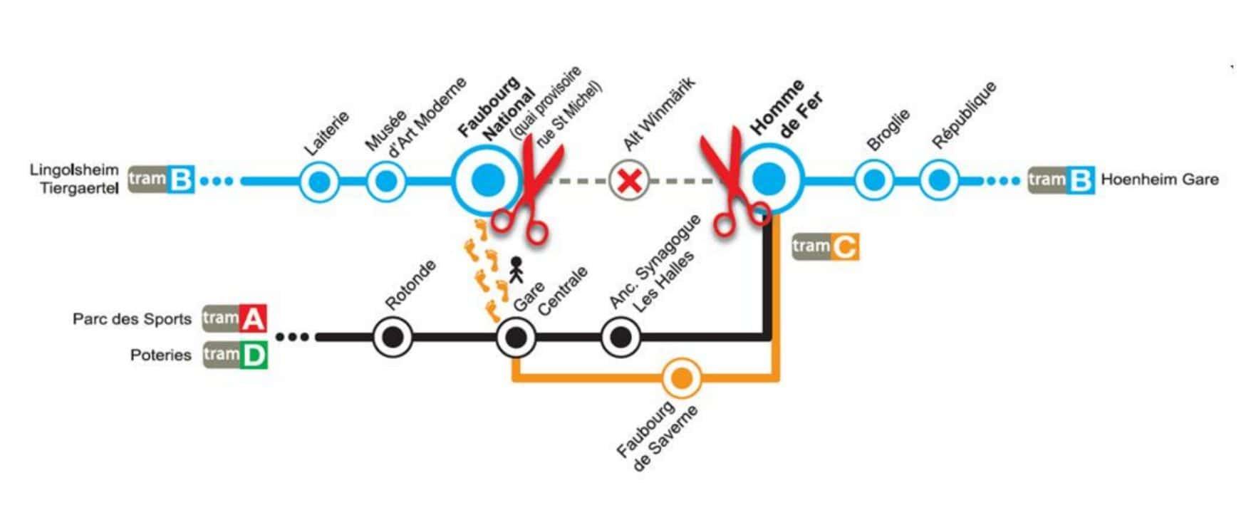 Les lignes B et F du tram interrompues et plus de station Alt Winmärik jusqu'au 22 juillet