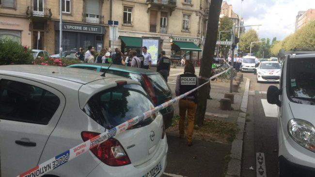 Le périmètre de l'agression a été momentanément bouclé par la police judiciaire (Photo Twitter)