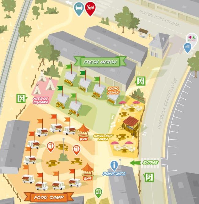 Plan du Street Bouche Festival à la Coop (doc remis)