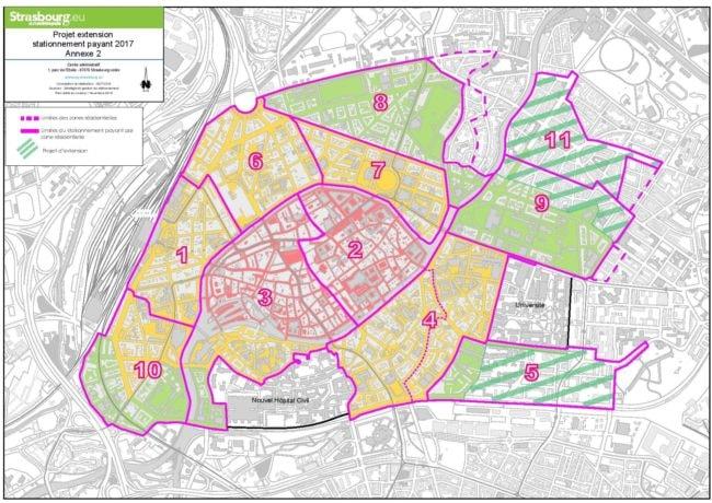 La nouvelle carte du stationnement payant à Strasbourg. En pointillé, les zones où le stationnement reste gratuit mais où les habitants peuvent demander un abonnement pour se garer dans les rues voisines (doc Ville de Strasbourg)