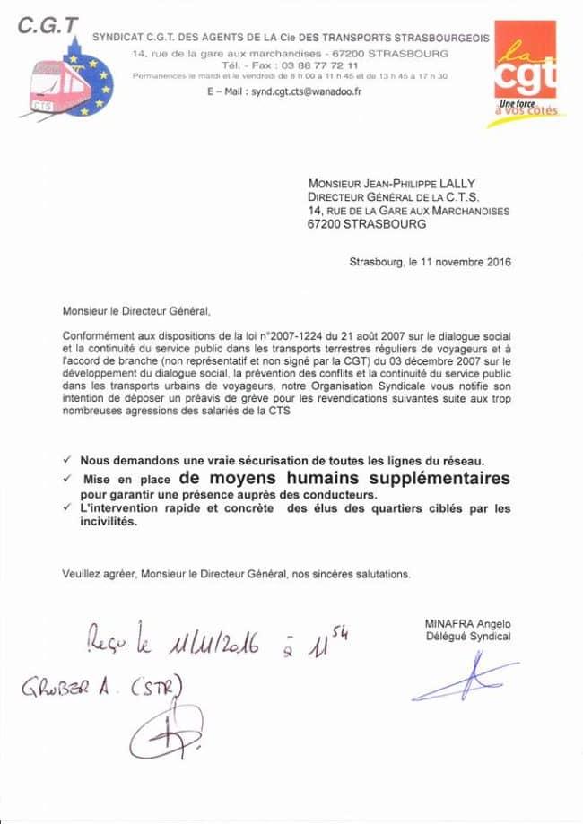La CGT CTS a adressé une notification à la direction de la CTS vendredi 11 novembre.