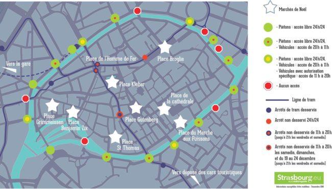 Plan d'accès au Marché de Noël 2016 (doc Ville de Strasbourg)