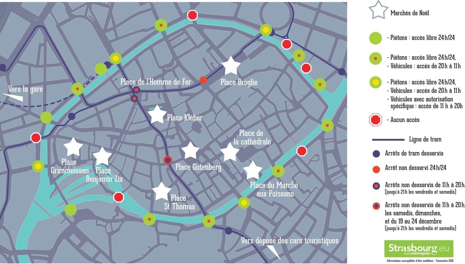marché de noel strasbourg 2018 plan Strasbourg : huit marchés de Noël dans un centre ville verrouillé marché de noel strasbourg 2018 plan