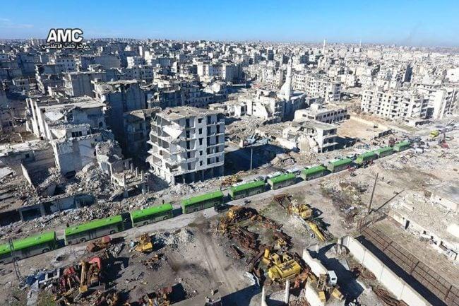 Vue aérienne de la ville d'Alep qui doit être évacuée. (photo Aleppo Media Center)