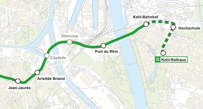 La ligne D sera prolongée lors d'une phase ultérieure. Les stations Starcoop et Citadelle seront ouvertes dans un an ou deux (doc remis / CTS)