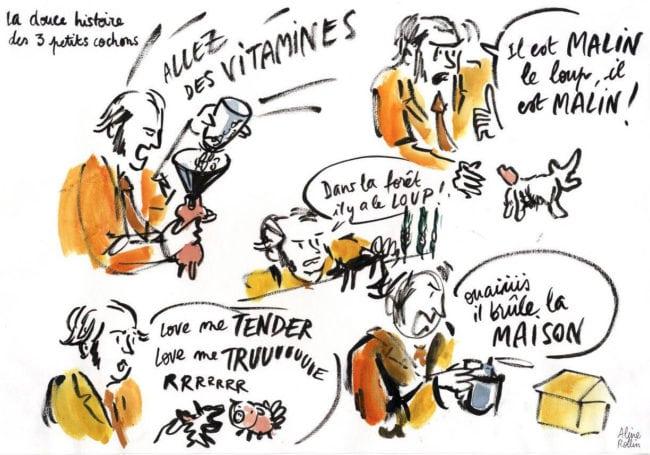 """Et alors quand c'est prêt, c'est parti. En 2016, le spectacle """"Les 3 petits cochons"""" (Illustration Aline Rollin)"""