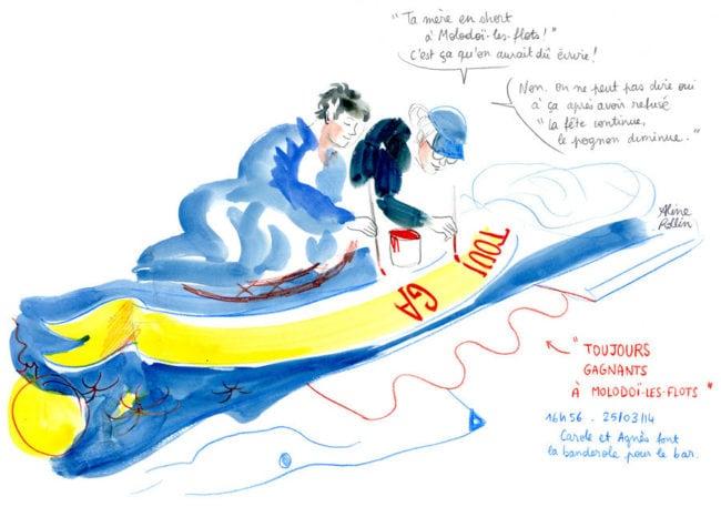 Carole et Agnès font la banderole pour le bar / Live sketching (Illustration Aline Rollin)
