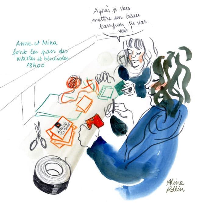 Anne et Nina font les pass des artistes et des bénévoles / Live sketching (Illustration Aline Rollin)