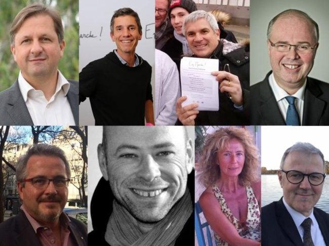 Des candidats de République en Marche en Alsace. De g. à d., en haut : Sylvain Weserman (67-2), Bruno Studer (67-3), Thierry Michels (67-1), Patrick Striby (68-2). En bas : Christian Gliech (67-8), Vincent Thiébaut (67-9), Martine Wonner (67-4), Guy Salomon (67-6). (Photos Facebook)