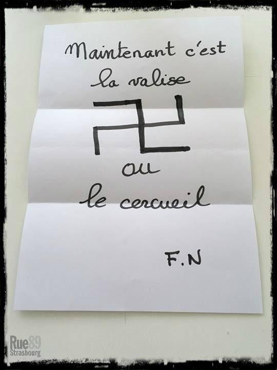 La lettre reçue par le principal de collège à son domicile (doc Rue89 Strasbourg)