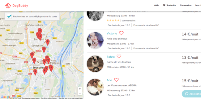 Sur DogBuddy, les propriétaires d'animaux peuvent choisir entre différents profils de pet-sitter. (Capture d'écran du site de DogBuddy)