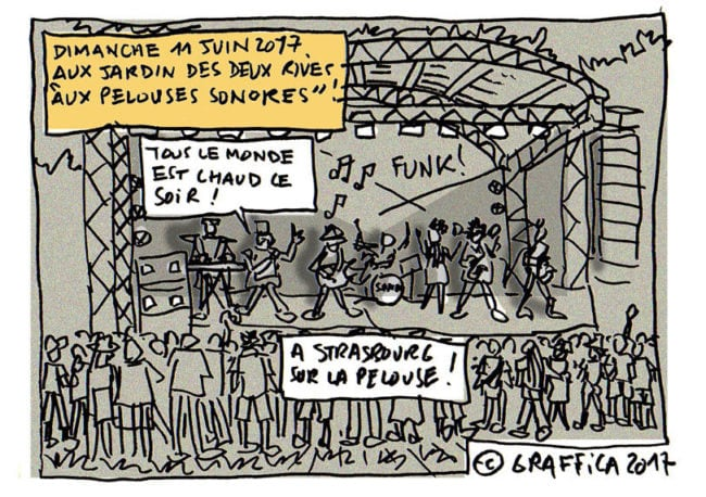 Aux pelouses sonores du festival Contre-Temps (dessin Graffica)