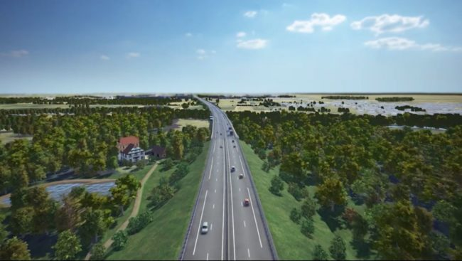 Vue simulée du futur viaduc de la Bruche sur un remblai, à travers la forêt de KolbsheimA (capture d'écran, vidéo de présentation par Vinci)