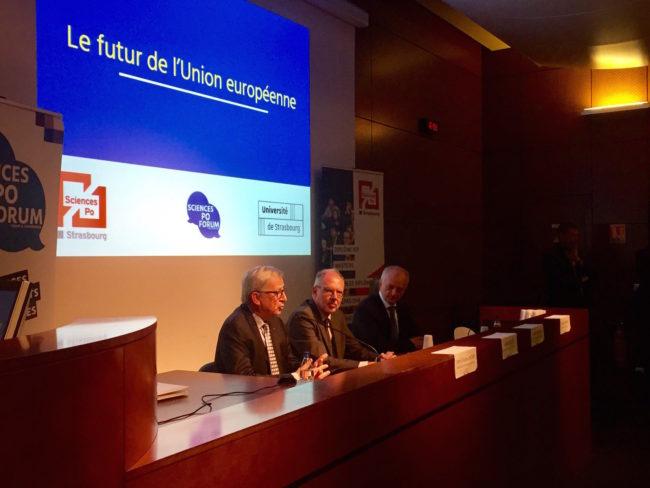 A l'IEP, Jean-Claude Juncker a détaillé ses priorités pour l'Union européenne (Photo CS / Rue89 Strasbourg / cc)