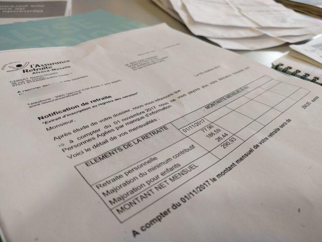 Le décompte d'une pension de retraite d'un Chibani (Photo PF / Rue89 Strasbourg / cc)