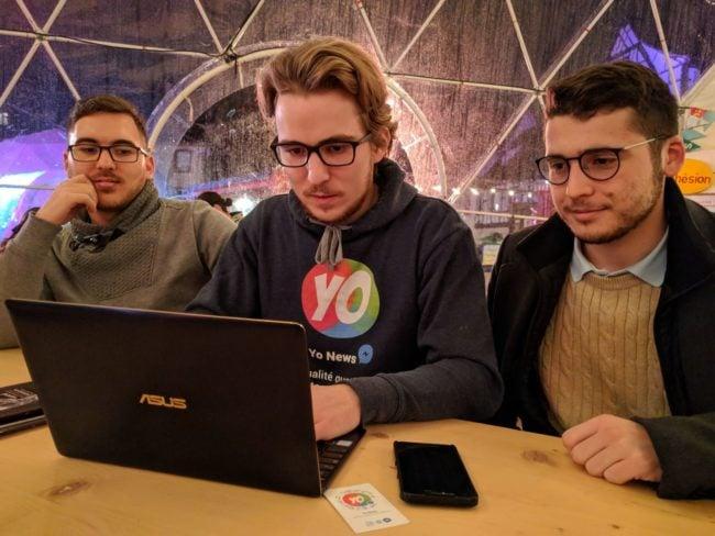 De g. à d., Dylan et Jonathan Giamporcaro et Alban, les trois cofondateurs de Yo News (Photo PF / Rue89 Strasbourg / cc)