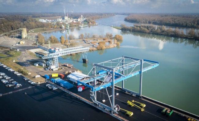 Le port de Lauterbourg est situé à un jet de pierre des sites concurrents de Karlsruhe et Woerth. (Loïc Chalmandrier / Port autonome de Strasbourg)
