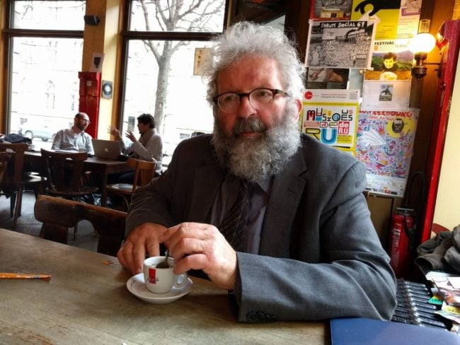Georges Bischoff ne croit pas que Gutenberg ait pu inventer l'imprimerie ailleurs qu'à Strasbourg (Photo PF / Rue89 Strasbourg / cc)
