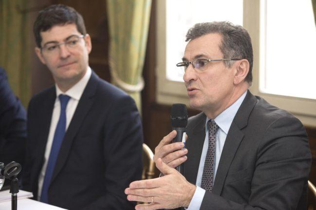 """Nicolas Théry, président du Crédit Mutuel (à g.) et Philippe Carli, directeur du """"pôle presse"""" (Photo Roger Haeffele / Crédit Mutuel)"""