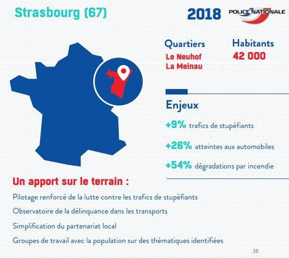 Deux quartiers sur 30 ciblés sont strasbourgeois (document Min Intérieur)