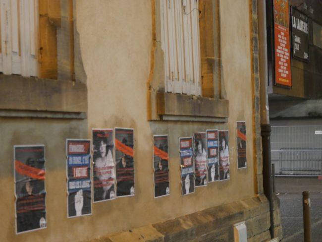 Un premier collectif a couvert les murs d'affiches rappelant les femmes mortes sous les coups de leur conjoint (Photo GK/ Rue 89 Strasbourg/ cc)