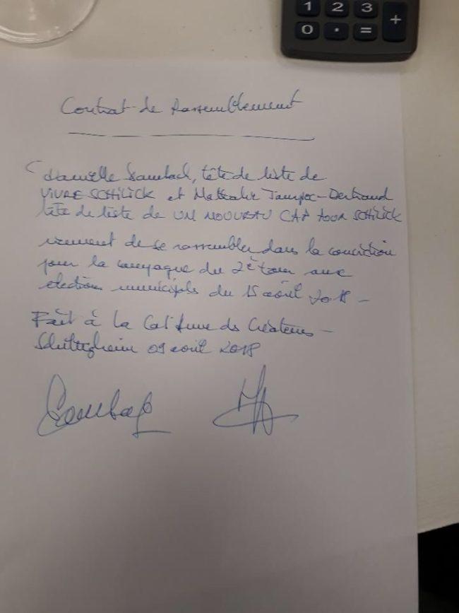 Le contrat d'alliance signé à 6h du matin (doc remis)