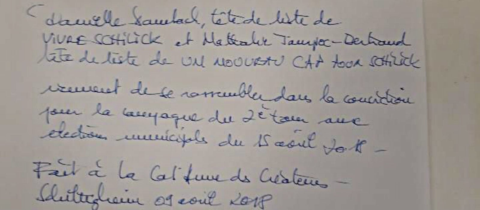 Schiltigheim: Danielle Dambach et Nathalie Jampoc-Bertrand unies au second tour
