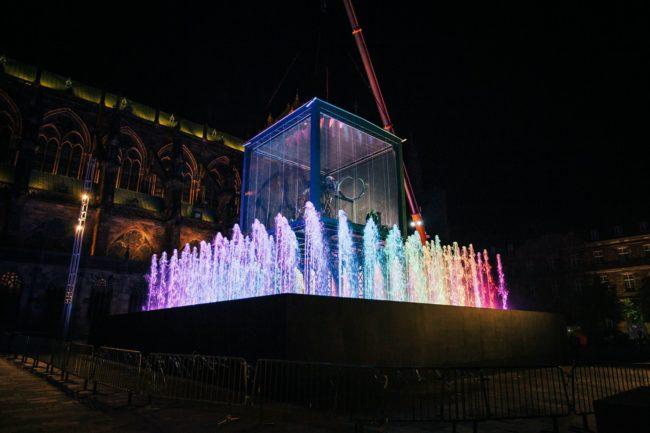 L'installation finalement présentée prévoit des jets d'eau et des projections (Photo Vincent Muller / doc remis)