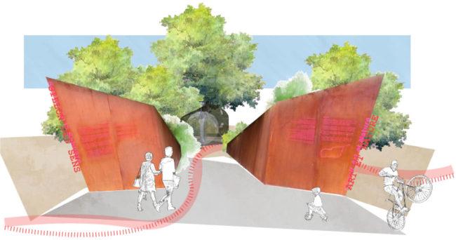 Le projet de parcours « vert », où se côtoient artistes et street workout, piétons flânant et cyclistes sportifs / Document Apollonia - Cabinet d'Architecture et d'Urbanisme Georges Heintz et Associés.