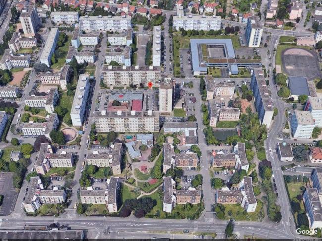 Le quartier des Écrivains est réparti entre Bischeim (au nord) et Schiltigheim (capture d'écran Google Maps)