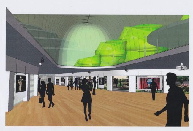 Une vue depuis la salle d'exposition - Document Apollonia -Cabinet d'Architecture et d'Urbanisme Georges Heintz et Associés.