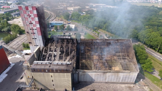 Une vue d'en haut permet de mesure l'ampleur des dégâts (Photo SDIS / préfecture du Bas-Rhin)