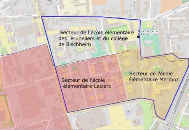 En bleu, le périmètre du quartier des Écrivains. Les trois écoles du quartiers enverront leurs élèves au collège Lamartine (doc remis)