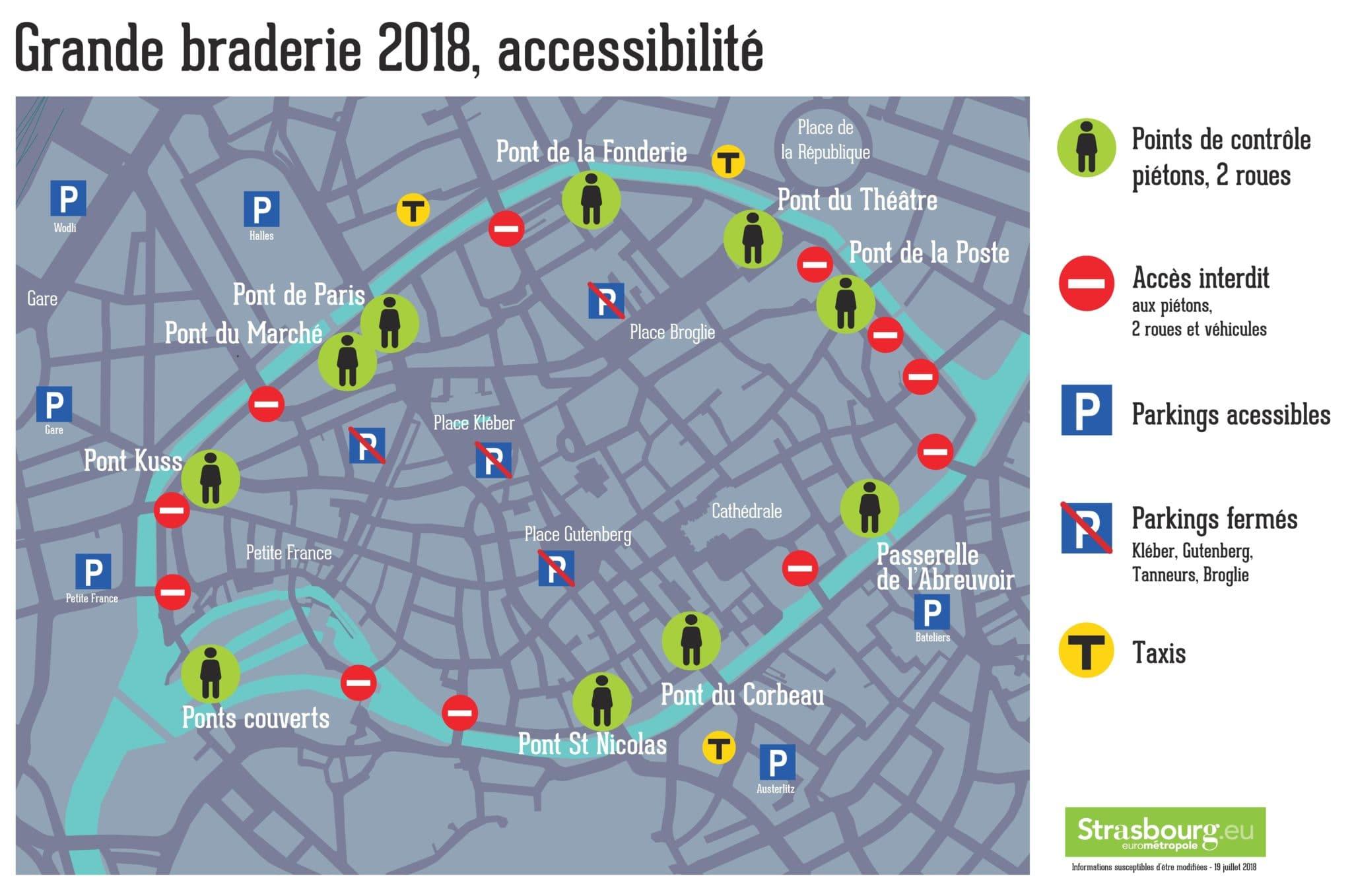 10 ponts sur 21 seront ouverts pour la Grande braderie de Strasbourg version 2018 (document Ville de Strasbourg)
