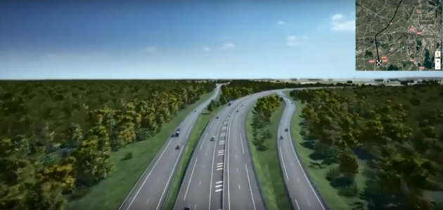 L'échangeur Nord avec l'A4 et l'A35 prévoit de détourner naturellement le trafic vers le GCO (Visualisation XO3D pour Arcos / Vinci)