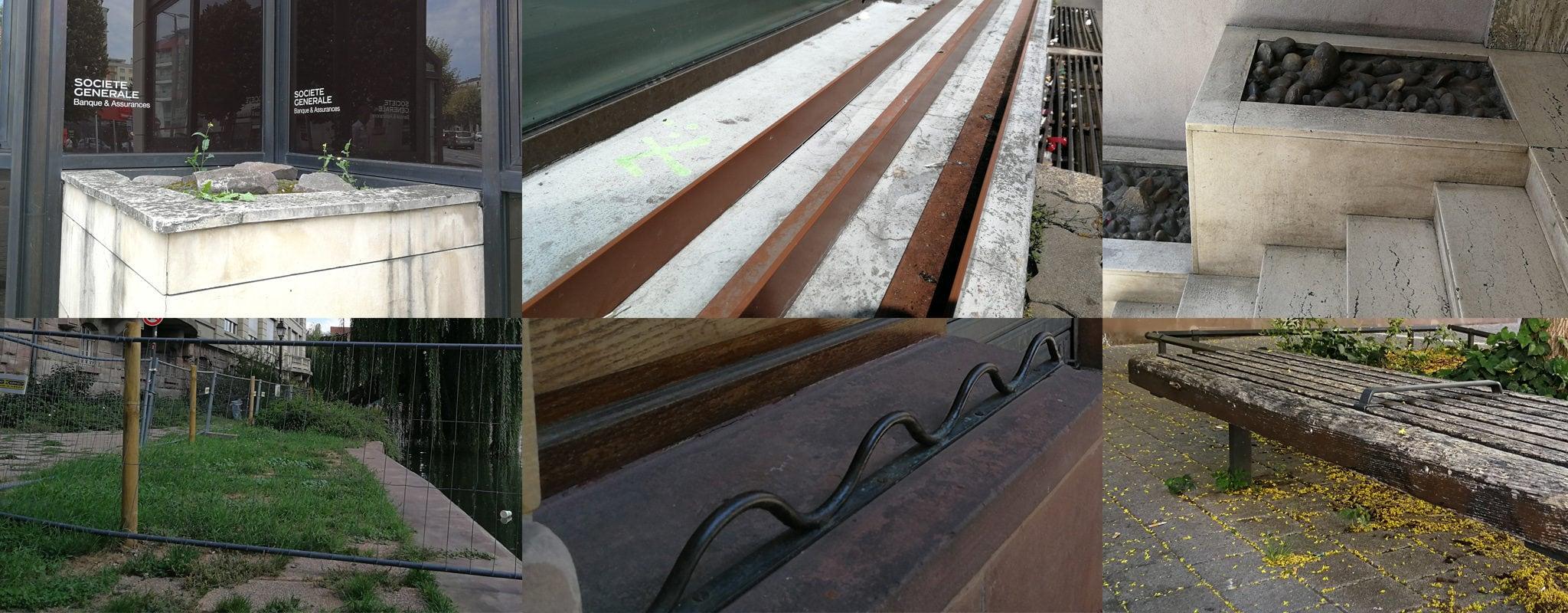 Galets, grilles, bancs anti-sieste… La carte du mobilier répulsif à Strasbourg