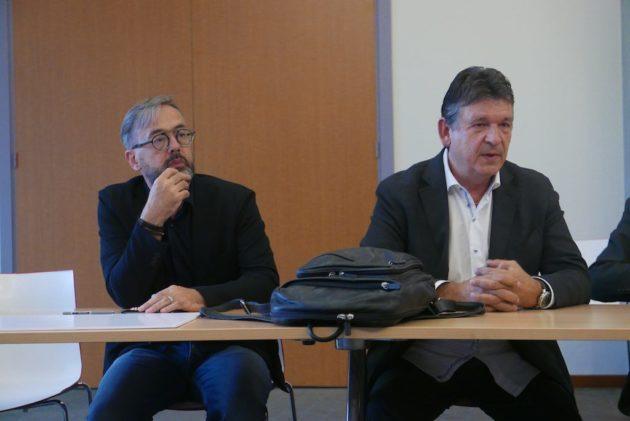 Alain Oesch, architecte et Francis Meppiel (Photo EJ / Rue89 Strasbourg)