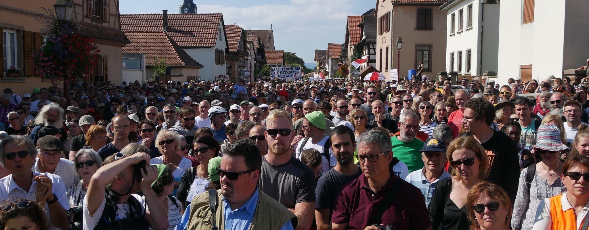 Plus de 2000 personnes manifestent contre le GCO à Kolbsheim