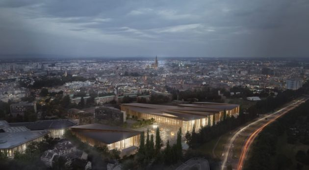 Vue aérienne du futur parc des expositions de Strasbourg (Credit Kengo Kuma and Associates)