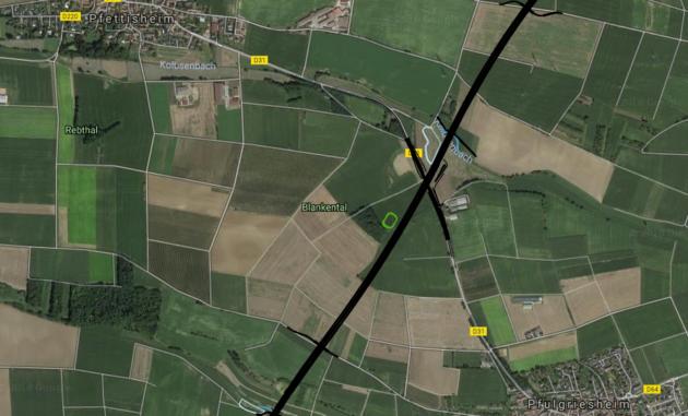 Le tracé du GCO passe entre Pfulgriesheim et Pfettisheim. (visualisation Google Earth par Arcos)