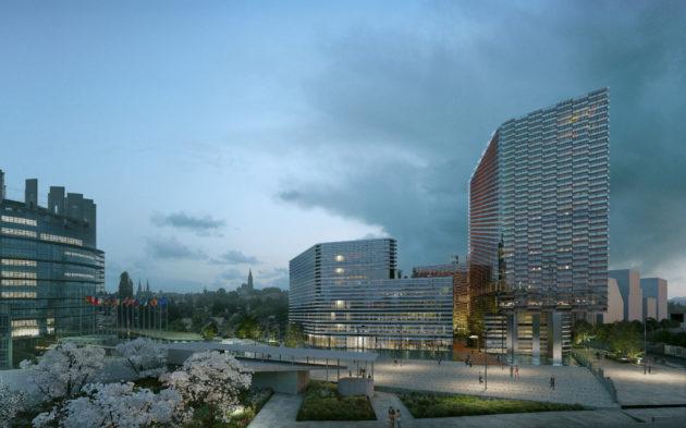 VVue du futur bâtiment réservé au Parlement européen de Strasbourg, toisé par bâtiment d'Euroinformation à droite. (visuel Yam Studio /)