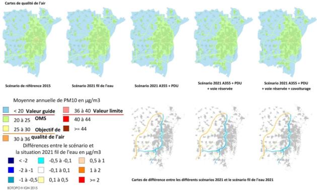 Le bleu représente une baisse de pollution aux PM10 et le jaune et rouges les augmentations. Les parties grises représentent les habitants. (extrait etude Atmo Grand Est, cliquez pour agrandir)