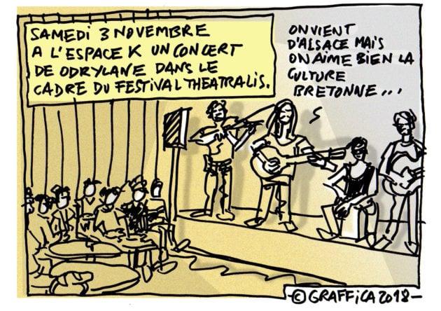 Quand il y a des concerts de rock folk celtique à l'Espace K, ça donne le groupe Odrylane lors du festival Théatralis (Dessin Pascal Richert)