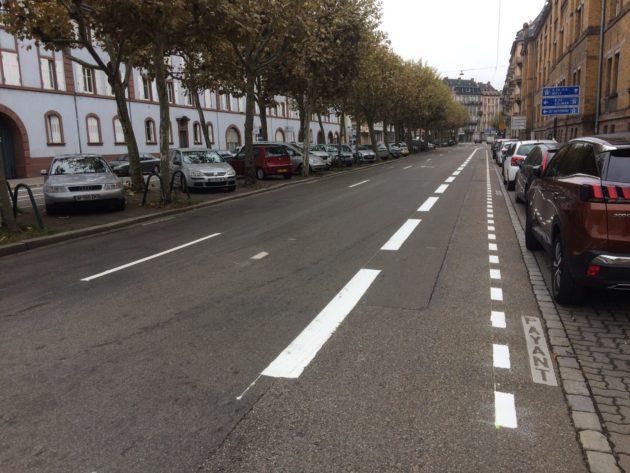 Des bandes cyclables ont été ajoutées sur les boulevards du quartier gare. (photo JFG / Rue89 Strasbourg)