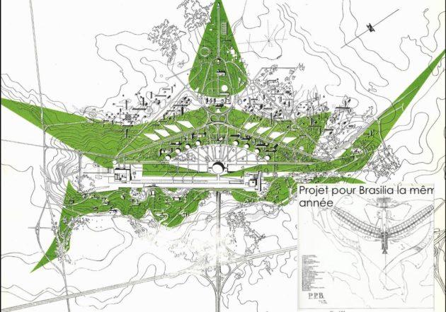 Le plan imaginé pour accueillir le Parlement européen à Oberhausbergen s'inspire de la ville de Brasilia (Source Archi-wiki / Archives de la Ville de Strasbourg)